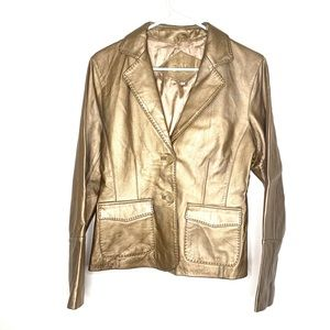 Cabi gold leather jacket